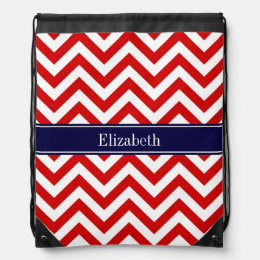 Red White LG Chevron Navy Blue Name Monogram Drawstring Backpack