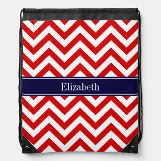 Red White LG Chevron Navy Blue Name Monogram Drawstring Backpack