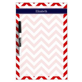 Red White LG Chevron Navy Blue Name Monogram Dry-Erase Boards