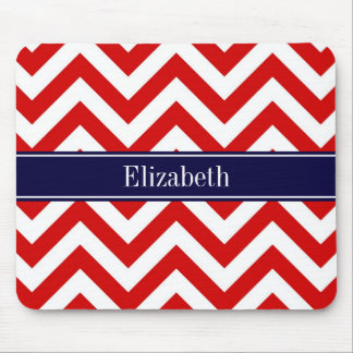 Red White LG Chevron Navy Blue Name Monogram Mouse Pad