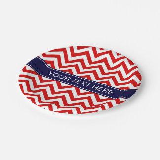 Red White LG Chevron Navy Blue Name Monogram Paper Plate