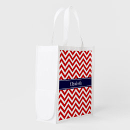 Red White LG Chevron Navy Blue Name Monogram Reusable Grocery Bag