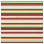 [ Thumbnail: Red, White, Light Green, and Maroon Pattern Fabric ]