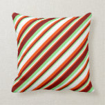 [ Thumbnail: Red, White, Light Green, and Maroon Pattern Pillow ]