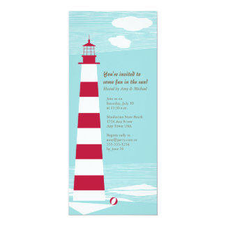 "Red White Lighthouse Party Invite 4"" X 9.25"" Invitation Card"