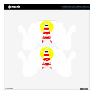 Red White Lighthouse PS3 Controller Skin