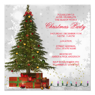 Red White Lights Tree Festive Christmas Party Card