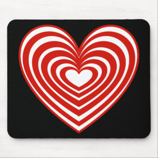 Red & White Lined Heart Mouse Pad