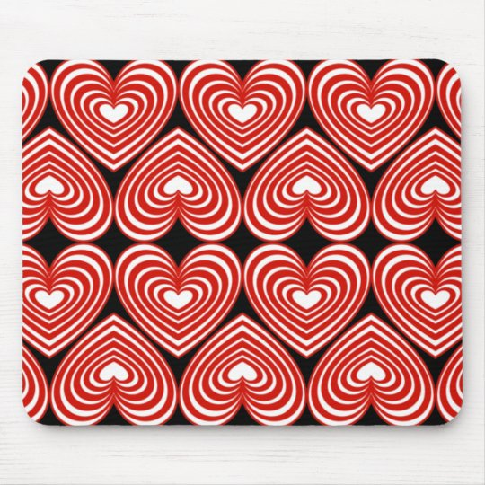 Red & White Lined Hearts Mouse Pad