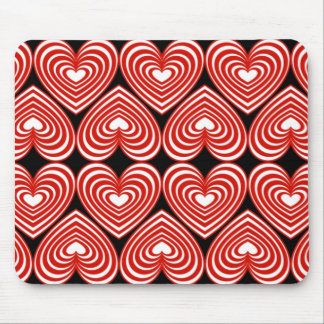 Red & White Lined Hearts Mouse Pads