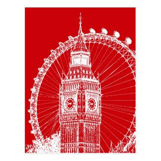 Red & White London postcard