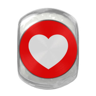 Red/White Love Heart Glass Jars