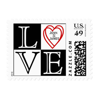 Red & White LOVE Heart Names Wedding Postage
