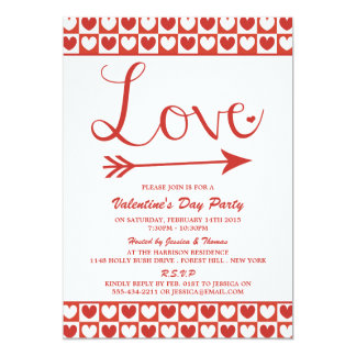 Red & White Love Hearts Valentine's Day Party 5x7 Paper Invitation Card
