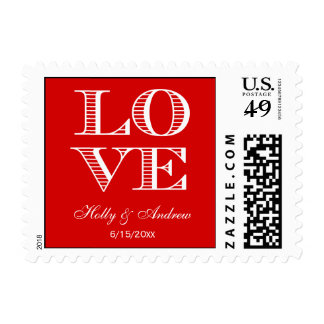 Red White LOVE Postage Stamps small Postage Stamp