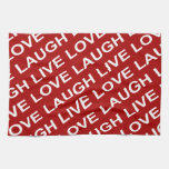 Red White Love Text Pattern Kitchen Towels