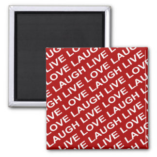 Red White Love Text Pattern Magnet