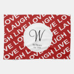 Red White Love Text Pattern Towel