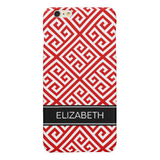 Red White Med Greek Key Diag T Black Name Monogram Glossy iPhone 6 Plus Case