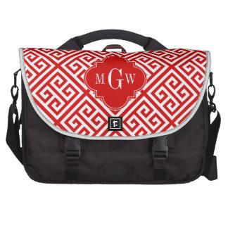 Red White Med Greek Key Diag T Red Name Monogram Laptop Messenger Bag