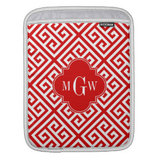 Red White Med Greek Key Diag T Red Name Monogram Sleeve For iPads