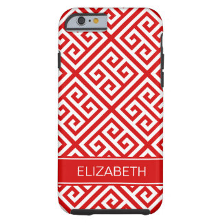 Red White Med Greek Key Diag T Red Name Monogram Tough iPhone 6 Case