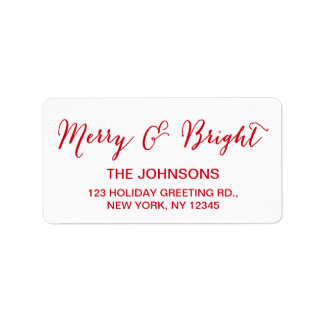 Red White Merry and Bright Script Holiday Label