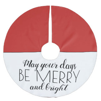 Red White Merry Bright Christmas Holiday Brushed Polyester Tree Skirt