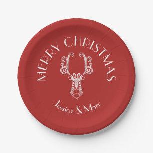 Red u0026 White MERRY CHRISTMAS Christmas Reindeer Paper Plate  sc 1 st  Zazzle & Merry Christmas Reindeer Plates | Zazzle