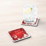 Red, White Merry Christmas Coaster Set (6)