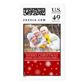 Red White Merry Christmas Custom Name Photo Postage Stamps