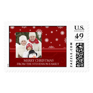 Red White Merry Christmas Custom Name Photo Postage
