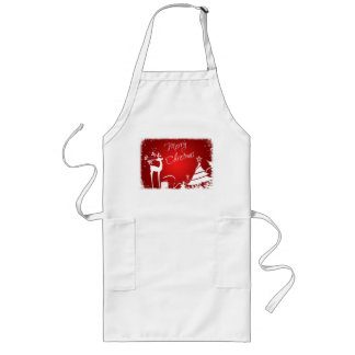 Red White Merry Christmas Deer, Snowflakes Apron