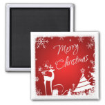 Red White Merry Christmas Deer, Snowflakes Magnet