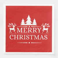 Red & White Merry Christmas Paper Napkins