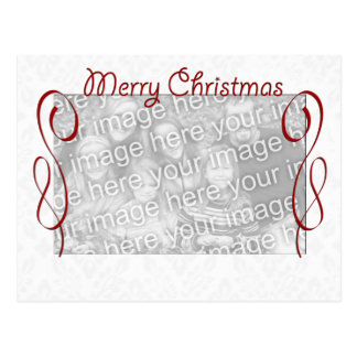 Red White Merry Christmas Postcard