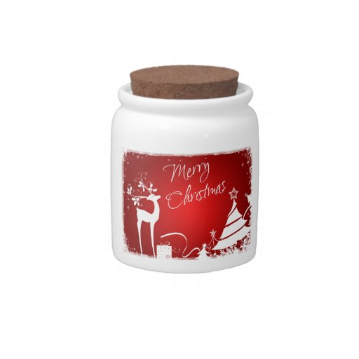Red White Merry Christmas Snowflakes Candy Jar