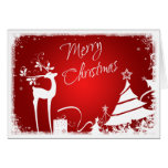Red, White Merry Christmas Trees & Deer Photo Card Card