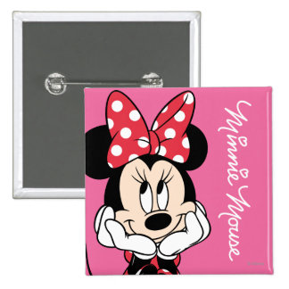 Red & White Minnie 1 2 Inch Square Button