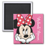Red & White Minnie 1 2 Inch Square Magnet