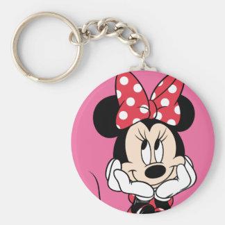 Red & White Minnie 1 Basic Round Button Keychain
