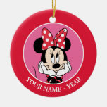 Red & White Minnie 1 Double-Sided Ceramic Round Christmas Ornament