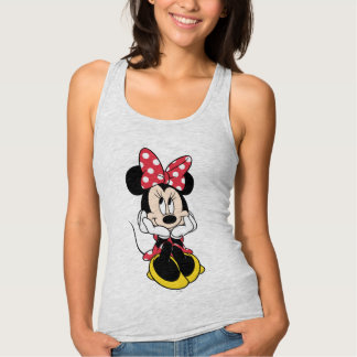 Red & White Minnie 1 Jersey Racerback Tank Top