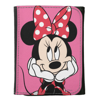 Red & White Minnie 1 Leather Trifold Wallet
