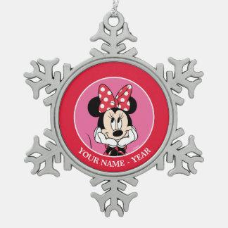 Red & White Minnie 1 Snowflake Pewter Christmas Ornament