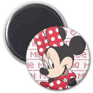 Red & White Minnie 3 2 Inch Round Magnet