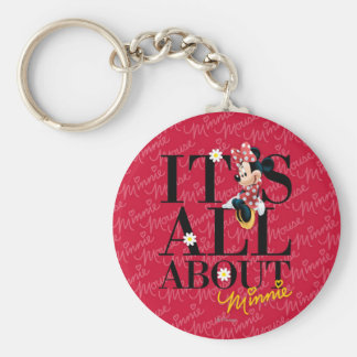 Red & White Minnie | All About Me Basic Round Button Keychain