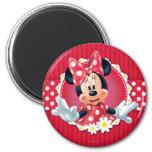Red & White Minnie   Flower Frame 2 Inch Round Magnet