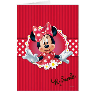 Red & White Minnie   Flower Frame Card