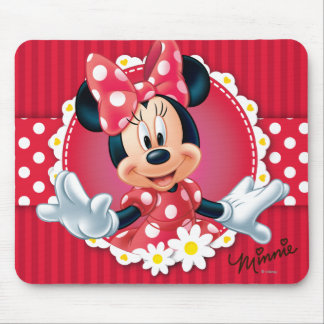 Red & White Minnie | Flower Frame Mouse Pad